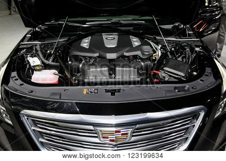NEW YORK - March 23: A Cadillac CT6 hood open and exhibit at the 2016 New York International Auto Show during Press day,  public show is running from March 25th through April 3, 2016 in New York, NY.