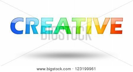Text Creative with colorful letters and shadow. Illustration, isolated on white