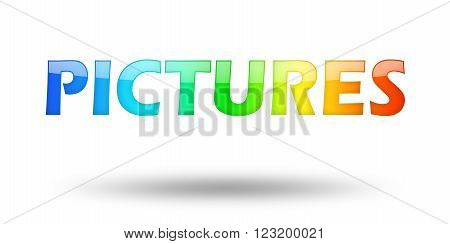 Text Pictures with colorful letters and shadow. Illustration, isolated on white