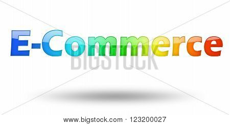 Text E-Commerce with colorful letters and shadow. Illustration, isolated on white