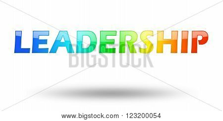 Text LEADERSHIP with colorful letters and shadow. Illustration, isolated on white