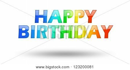 Text Happy Birthday with colorful letters and shadow. Illustration, isolated on white