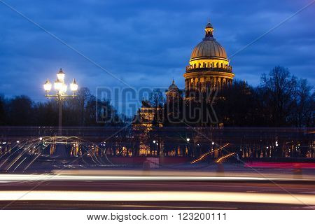 view of St. Isaac's Cathedral and monument to Peter the great on Senate square in St. Petersburg
