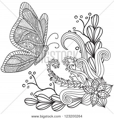 Hand drawn artistic ethnic ornamental patterned floral frame with a butterfly in doodle, zentangle style for adult coloring pages, tattoo, t-shirt or prints. Vector spring illustration.