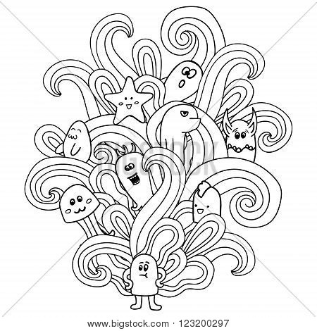Black and white monsters in the style of a doodle. Coloring pages for adults. Vector illustration