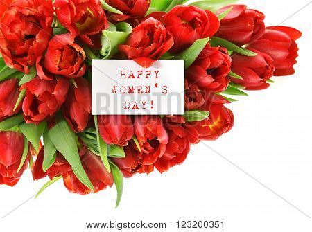 Red tulips with white paper card with sample text Happy Womens Day! Spring flowers