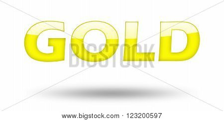 Text GOLD with yellow letters and shadow. Illustration, isolated on white