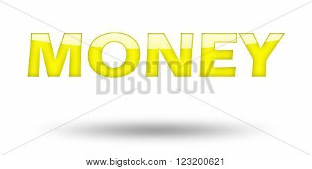 Text Money with yellow letters and shadow. Illustration, isolated on white