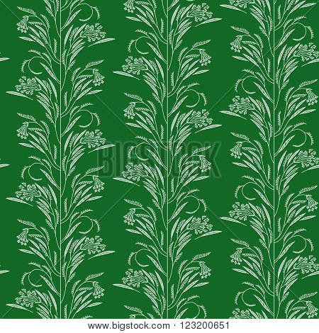 A seamless vector pattern, with stylized dill or caraway,  and leaves, on green background.