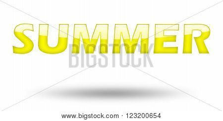 Text SUMMER with yellow letters and shadow. Illustration, isolated on white