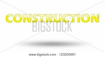 Text Construction with yellow letters and shadow. Illustration, isolated on white