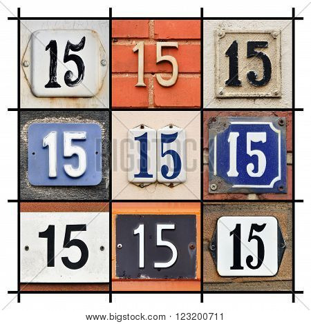 Collage of various House Number Fifteen signs