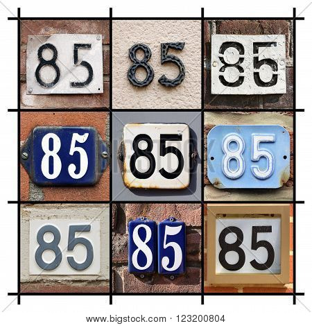 Number 85 sign. Collage of House Numbers Eighty-five.