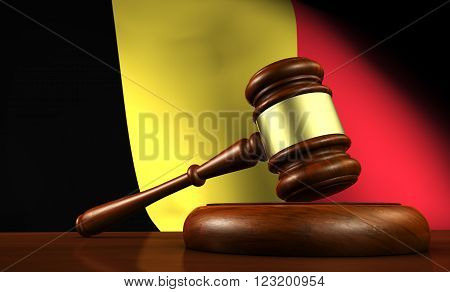 Belgium law legal system and justice concept with a 3d Rendering of a gavel on a wooden desktop and the Belgian flag on background.