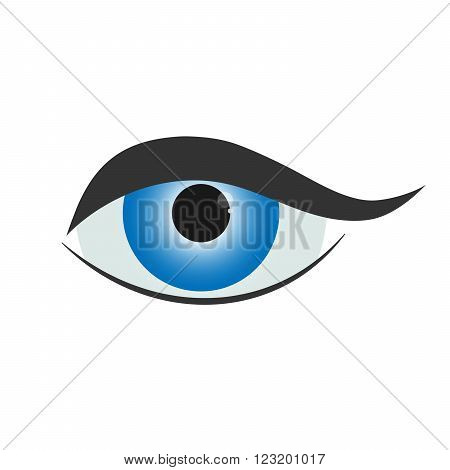 Beautiful blue woman eye. Simple eye icon - vector illustration.