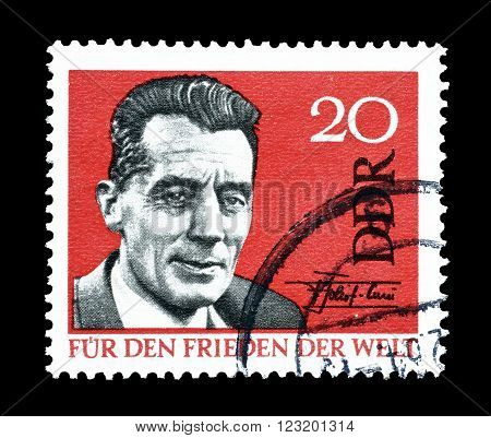 GERMAN DEMOCRATIC REPUBLIC - CIRCA 1964 : Cancelled postage stamp printed by German Democratic Republic, that shows Frederic Curie.