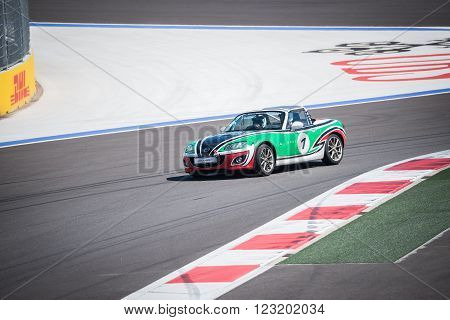 Sochi Russia - May 11 2015: Training races of the Mazda racing car on the autodrom.