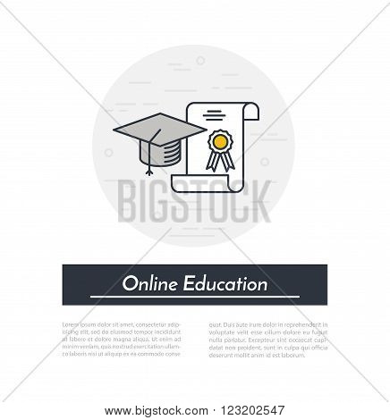 Online education icon. Outline graduate cap and charter internet education concept.