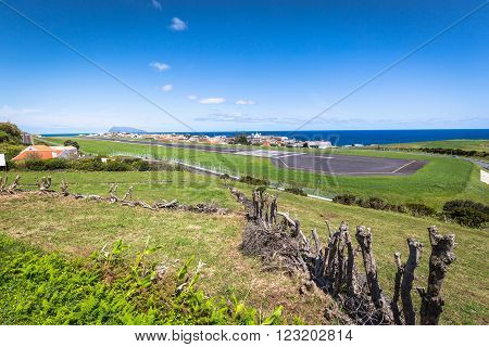 Panorama of Santa Cruz on the island of Flores Azores Portugal