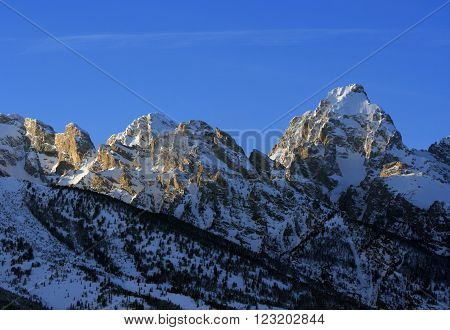 Buck Mountain in the Grand Teton Mountain Range in Grand Teton National Park in Wyoming USA