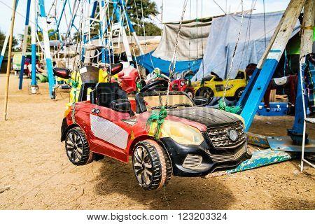 The racing car at the amusement park