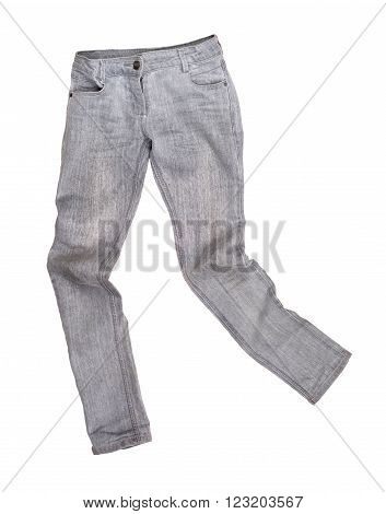 gray jeans isolated on a white background