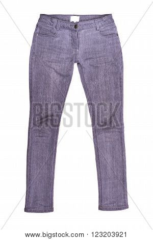 stylish women's jeans on a white background