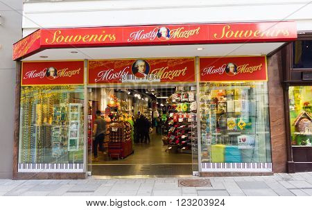 VIENNA, AUSTRIA - 22 March 2016: a Mozart themed souvenir shop in Vienna, Austria.