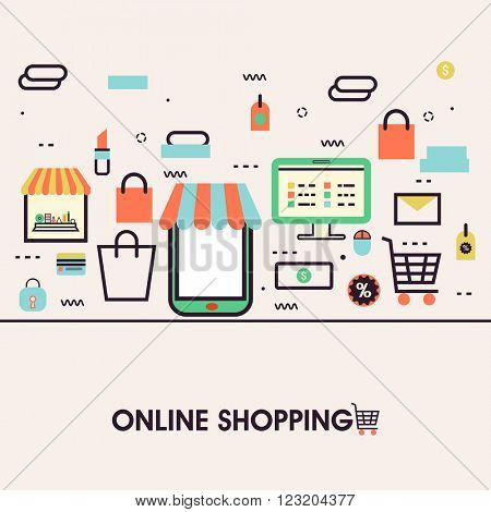Modern flat style illustration of online shopping on mobile phone, purchasing goods on smartphone screen. Can be used as web banner, hero image and website slider.