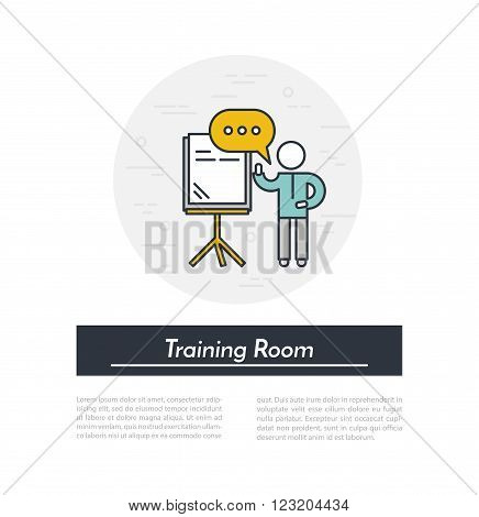Training Room. Speaker stands near the presentation board in training room and holds seminar. Outline vector illustration. Training seminar in conference room concept.