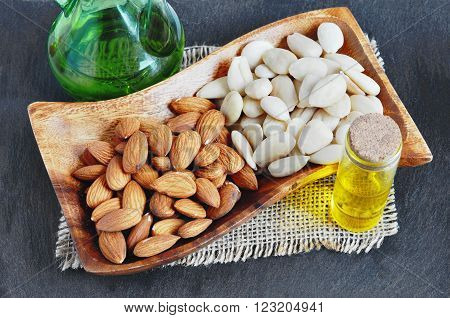 Blanched Almond, Peeled almonds and almond oil.