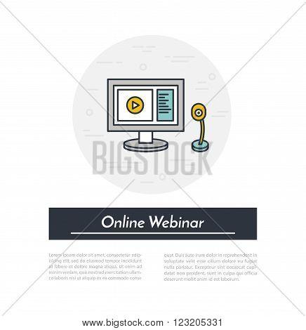 Vector outline illustration of webinar, online conference, lectures and training in internet. Online webinar concept.
