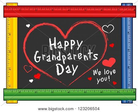 Grandparents Day USA holiday on first Sunday of September following Labor Day We love You! Hearts and kisses chalk text on chalkboard with multi color ruler frame for preschool daycare kindergarten nursery and elementary school.