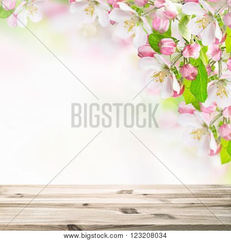 Wooden table top on blossoming apple tree blurred background. Spring flowers. Selective focus