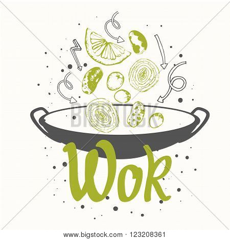 Sketch poster with wok pan. Funny labels asian fast food symbols.