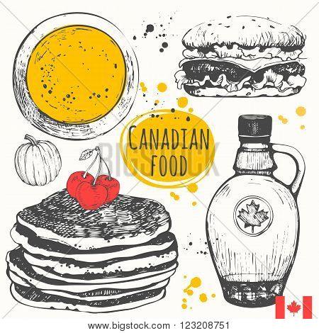 American traditional products. Vector illustration of ethnic cooking: pumpkin soup, pancakes, burger, maple syrup.