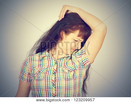 Young Woman, Smelling, Sniffing Her Armpit