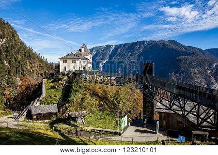 House on The Hill with Blue Sky and Mountain - Hallstatt, Austria