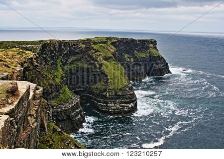 Cliffs of Moher at Hags Head on Liscanor Bay in the Republic of Ireland