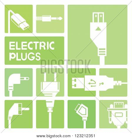 electric plug and outlet icons in green buttons