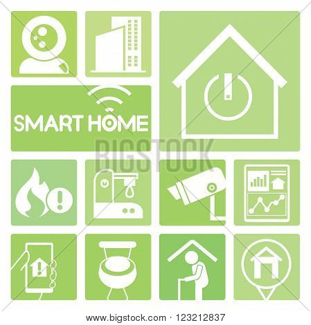 smart home device icons in green; cctv, wc, fire alarm