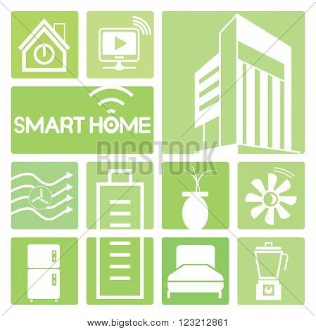 smart home device icons in green; bed, turbine, battery