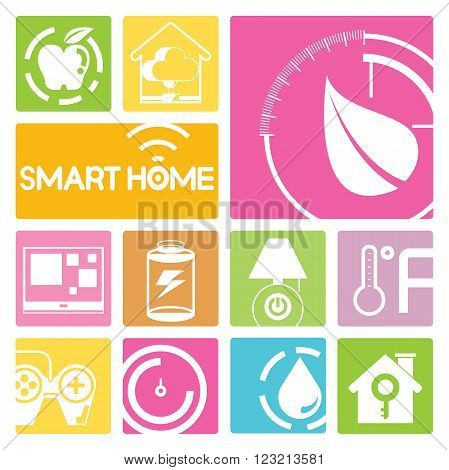 smart home and home automation icons in colorful buttons; light, water, meter, leaf and meter