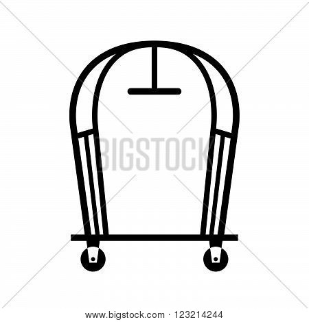 Hotel luggage cart, shade picture, on white background