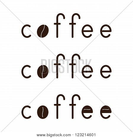 Set of brown colored coffee lettering with coffee bean as letter o isolated on white background. Logo template design element menu decoration