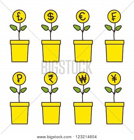 Set of flowerpots with growing money plants. Pound dollar euro frank ruble rupee won yen yuan Investment concept. Linear flat style illustration