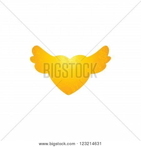 Shabby golden colored heart with wings isolated on white background. Logo template. Design element