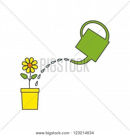 Green watering pot water drops bright flower in yellow flowerpot. Linear flat style illustration. Design element