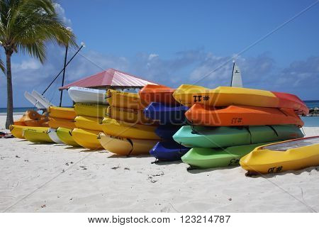 Kayak boat at private beach princess cays