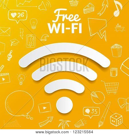 Vector free wi-fi signal on background with doodle elements. hand drawn object